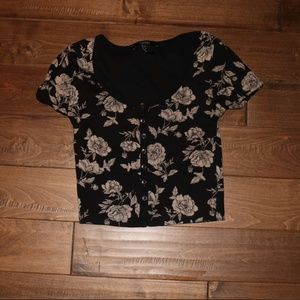 Flower Patterned Crop Top